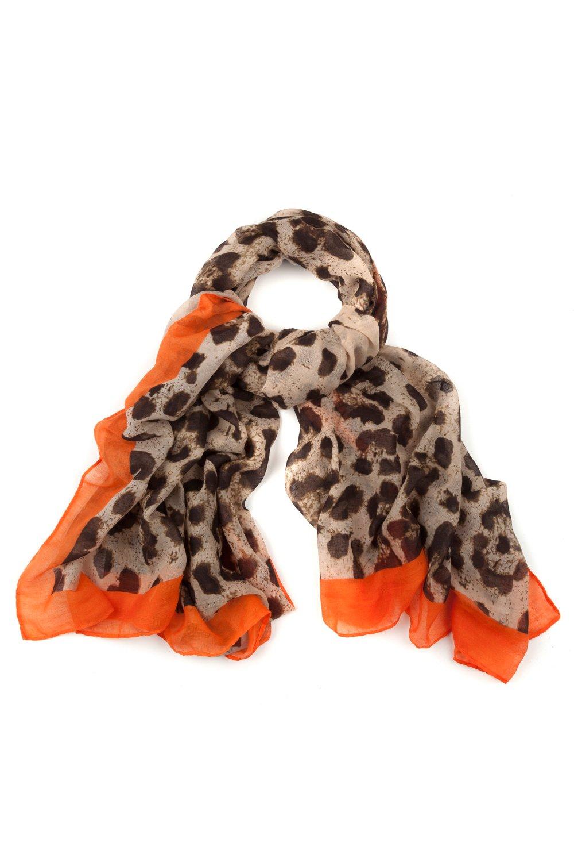 Artikel klicken und genauer betrachten! - Schal mit Animalmuster und leuchtender Color-Einfassung. Luftig leichtes Material. | im Online Shop kaufen