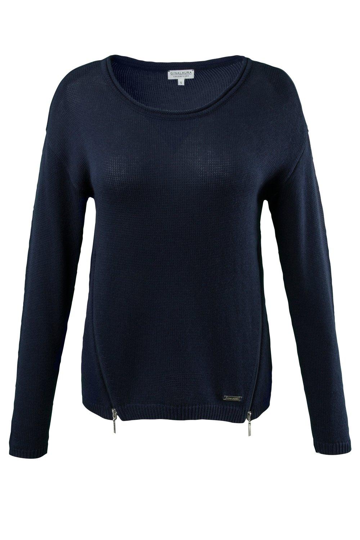 Artikel klicken und genauer betrachten! - Pullover aus weichem Feinstrick im neuen Look: echte Reißverschlüsse vorne am Saum! Lässig und bequem mit U-Boot-Ausschnitt und langen Ärmeln. | im Online Shop kaufen