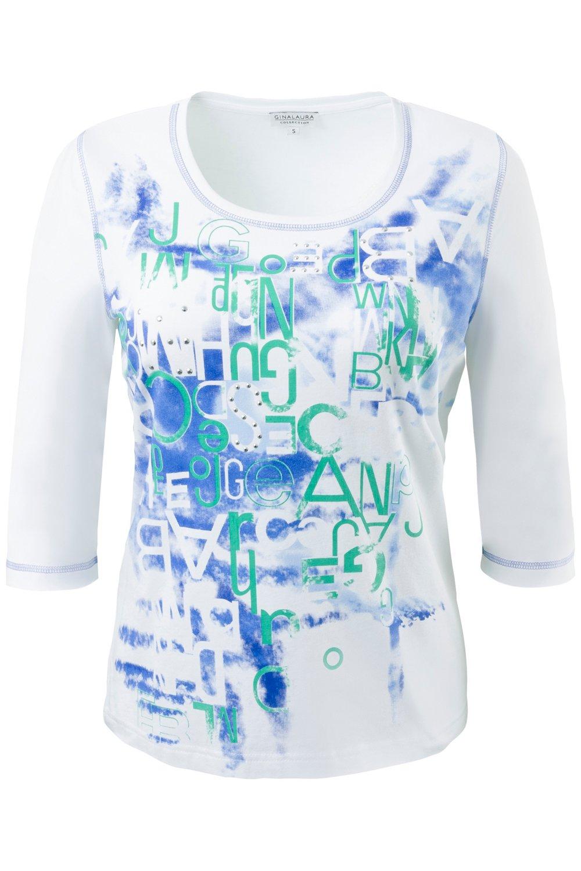 Artikel klicken und genauer betrachten! - Shirt aus elastischem Jersey mit sportivem Schriftdruck - edel verziert mit kleinen Nieten. Rundhalsausschnitt und 3/4-Arm mit Colornähten.   im Online Shop kaufen