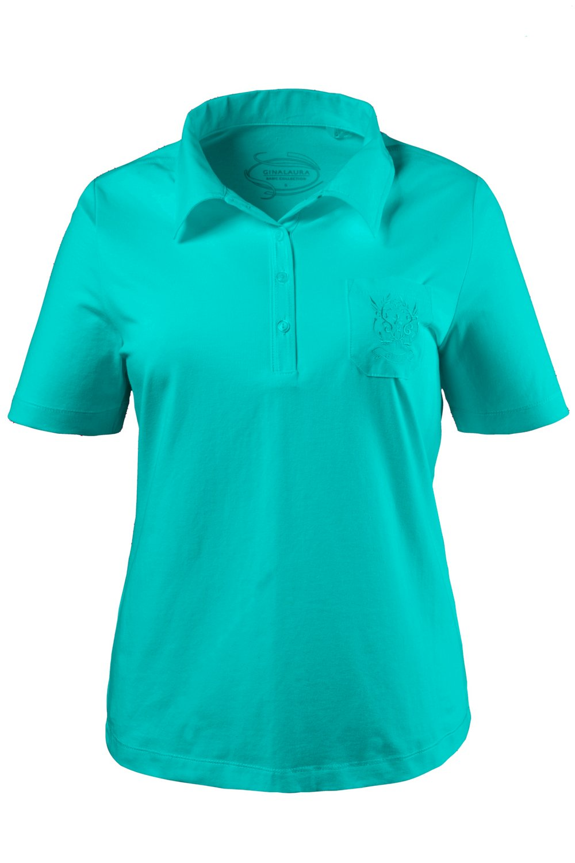 Artikel klicken und genauer betrachten! - Poloshirt aus elastischem Baumwolljersey. Kragen, Knopfleiste und bestickte Brusttasche aus tonigem Gewebe. Halbarm.   im Online Shop kaufen