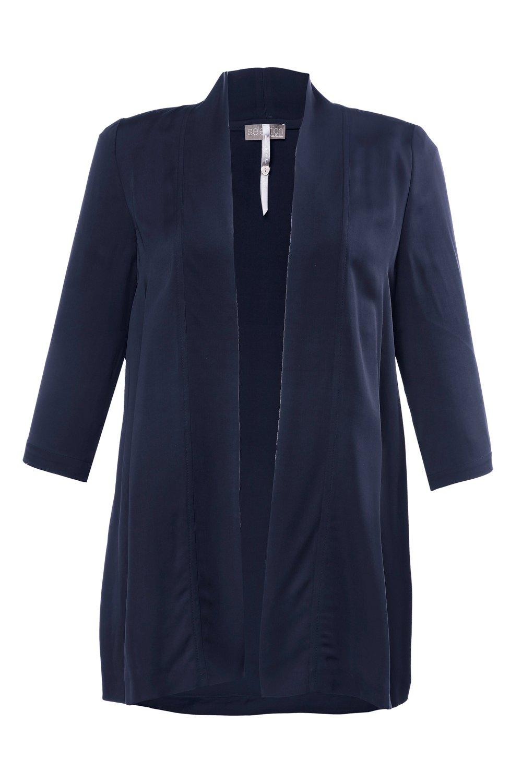 Artikel klicken und genauer betrachten! - Jacke in offener Form aus weich fließendem Viskosejersey mit Schalkragen und 3/4-Ärmeln. | im Online Shop kaufen
