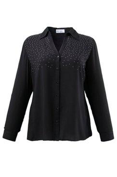 Bluse, Sternenhimmel-Druck auf Schultern, Hemdkragen