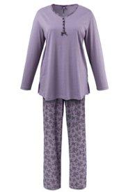 Ulla Popken Pyjama mit Spitzendruck - Große Größen