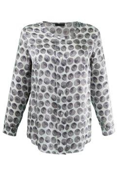 Bluse mit breiter Knopfleiste, Seidenmischung, selection BLACK