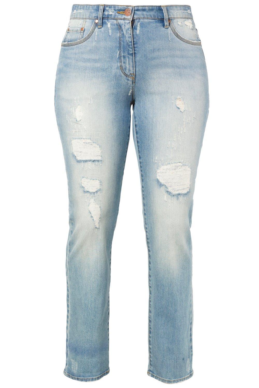 Artikel klicken und genauer betrachten! - Jeans mit blickdicht unterlegten Destroy-Effekten und bequem durch Stretchkomfort. Hose im 5-Pocket-Schnitt mit festem Bund, ab Gr. 52 teilelastisch. Gürtelschlaufen, Knopf und Reißverschluss. Typ: Regular. | im Online Shop kaufen
