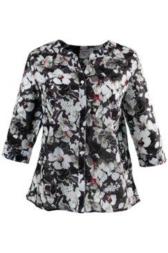 Hemdbluse mit Blütenmuster, 100 % Baumwolle