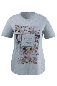 Ulla Popken T-Shirt mit Blütenmotiven und Schriftzug - Große Größen