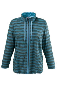 Ulla Popken Striped Overlock Stitch Knit Jacket