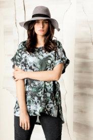 Ulla Popken Washed Floral Print Tunic
