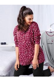 Ulla Popken Henley Snowflake Print Pajama Set