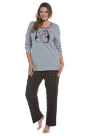 Ulla Popken Penguin & Plaid Pajama Set