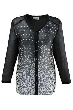 Bluse mit V-Ausschnitt, leicht transparent