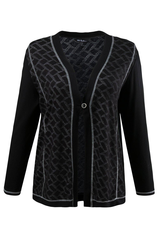 Artikel klicken und genauer betrachten! - Shirtjacke im neuen Patchlook - Vorderseite und Rücken aus Jacquard mit Ziernähten. V-Ausschnitt, Knopfverschluss, doppellagiger Saum in Schwarz. Ärmel aus Jersey 95% Viskose, 5% Elasthan. Body aus | im Online Shop kaufen