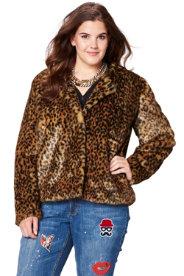 Ulla Popken Faux Fur Leopard Jacket