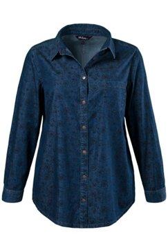 Jeanshemd, Blütenmuster, 100 % Baumwolle
