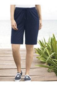 Ulla Popken Stretch Knit Drawstring Pocket Shorts