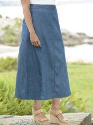 Ulla Popken Whisper-light A-line Denim Skirt