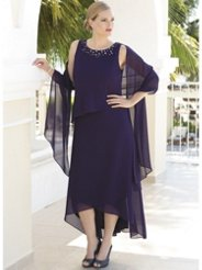 Ulla Popken Chic Cascade Layered Dress and Shawl Set