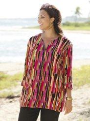 Ulla Popken Tropic-cool Button-front Gauze Tunic