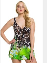 Ulla Popken Giraffe Print Skirted Swimsuit