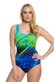 Ulla Popken Ocean Water Print Swimsuit