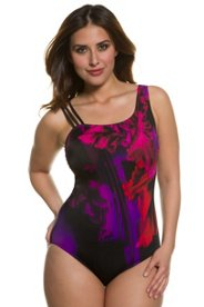 Ulla Popken Triple Strap Scoop Neck Floral Photo Print Swimsuit
