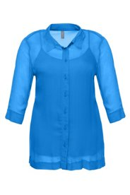 Chiffonbluse mit Stretch-Top, 3/4-Arm