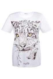 T-Shirt mit Tigermotiv, Materialmix