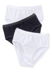 Taillenslips, 3er-Pack, schwarz und weiß
