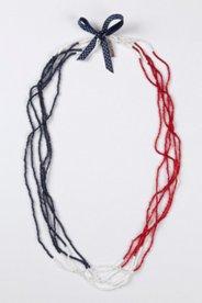 Kette, 100 cm, 5-reihig aus Perlen, Zierschleife