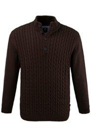 Pullover, Zopfmuster, formstabile Bündchen, markanter Stehkragen