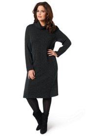 Jerseykleid, eingearbeitetes Zopfmuster aus Schurwolle