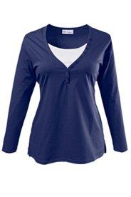 2-in-1-Shirt mit Knopfleiste, V-Ausschnitt