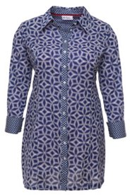 Longbluse, geometrisches Muster, 100% Baumwolle