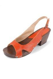 Sandalette, Holzsohle mit Elastikeinsatz, Weite H