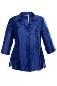 Leinencrash-Bluse mit Perlmuttknöpfen