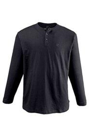 T-Shirt, Henley-Form, lange Ärmel, Baumwolle, Knopfleiste