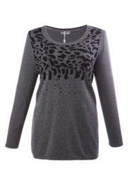 Jacquard-Pullover mit Ziersteinen, Feinstrick