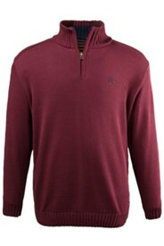 Pullover, Stehkragen,  Troyer-Form, Kontrastfarbe innen, Zipper