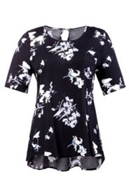 Shirt mit Blütenmuster, hinten mit Knopf