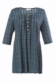 Bluse mit Ethnomuster, 3/4-Arm, A-Linie