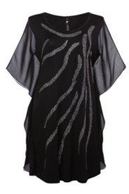 Kleid mit transparenten Ärmeln und Ziersteinen