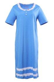 Nachthemd mit Spitzenbesatz, 100 % Baumwolle