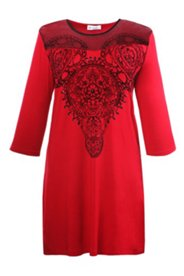 Homewearkleid mit orientalischem Flockdruck