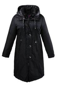 Mantel, Kragen mit eingerollter Kapuze