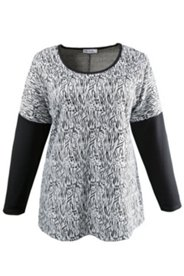 Pullover mit Tierfellmuster, Elasthan