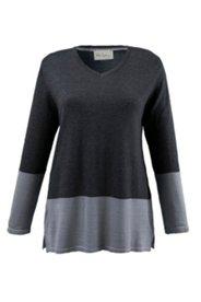 Pullover mit V-Ausschnitt, Clourblocking-Effekt