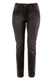 Jeans mit Schmucksteinen, Stretch