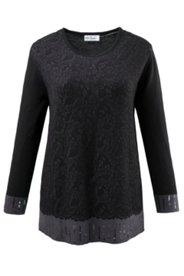 Pullover mit Pailletten und Strickmustern