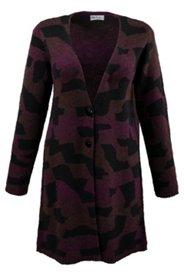 Strickmantel mit Camouflage-Muster, V-Ausschnitt